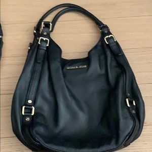 Black leather bucket bag, large